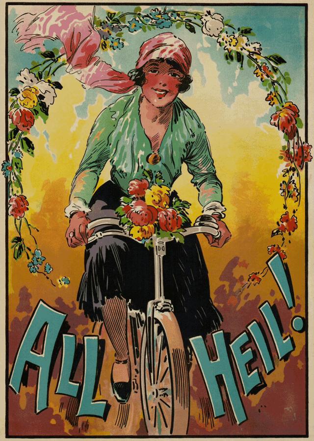 """""""All heil! (Radfahrerin)"""" (um 1910) TECHNOSEUM Landesmuseum für Technik und Arbeit in Mannheim (Rechtsstatus Unbekannt)"""