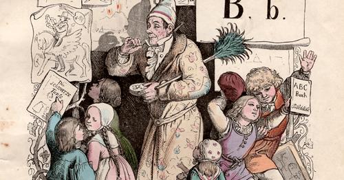 """Robert Reinick """"Bilderbude"""" zu Ludwig Richters Illustration """"Bildermann"""", in: ABC-Buch 1854 (1. Aufl. 1845), aus der Sammlung von: Privatbesitz (Rechte vorbehalten - Freier Zugang)"""