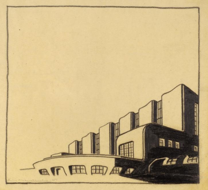 Phantasieprojekt, Privathaus für Erich Mendelsohn (Das große Haus). Perspektivansicht