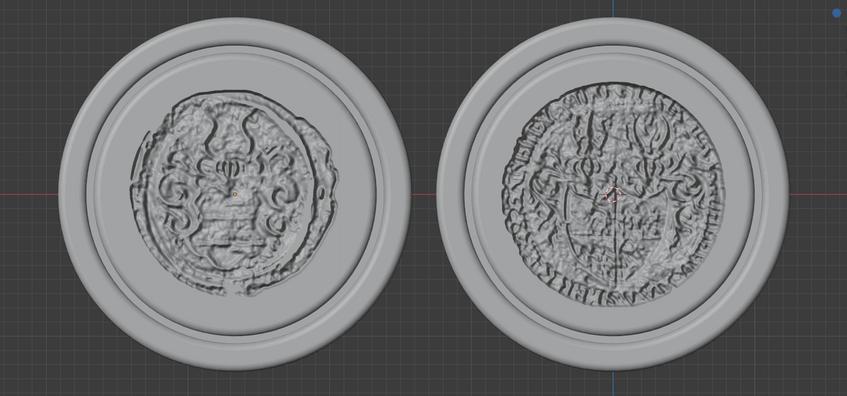 Links: Die Tiefe der Heightmap wird nicht ganz ausgenutzt (siehe flache, sichelförmige Fläche rechts. Rechts: Verbesserte Version, mit erhöhter Tiefer, größere Einhaltung von Kanten und Flächennutzung (CC BY-SA 4.0)