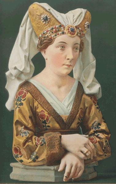 Abdruck einer Fotografie mit Abbildung einer Holzstatue in zeitgenössisch standesgemäßer Kleidung der Spätgotik.