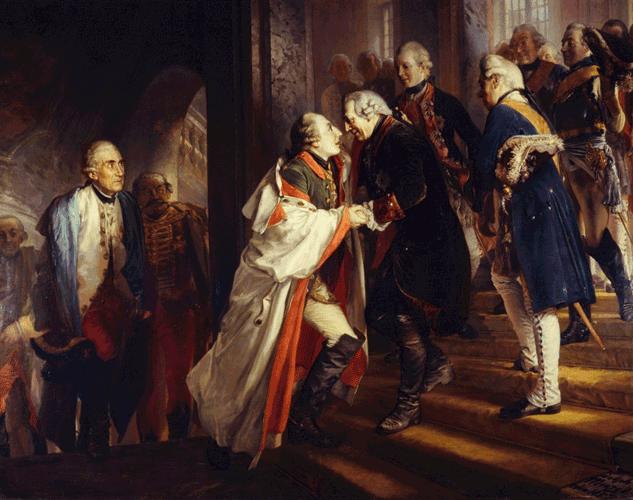 Begegnung Friedrichs II. mit Kaiser Joseph II. in Neiße im Jahre 1769