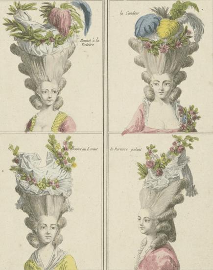 Gallerie des Modes et du Costume Français: Bonnet à la Victoire, la Candeur, Bonnet au Levant.