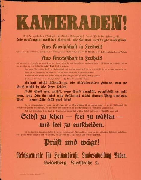 """""""Kameraden"""", Aufruf der Reichszentrale für Heimatdienst, Landesabteilung Baden, zur Nutzung der Wahlfreiheit, 8. Oktober 1919, Landesarchiv Baden-Württemberg, Abt. Staatsarchiv Freiburg, W 113 Nr. 0111."""