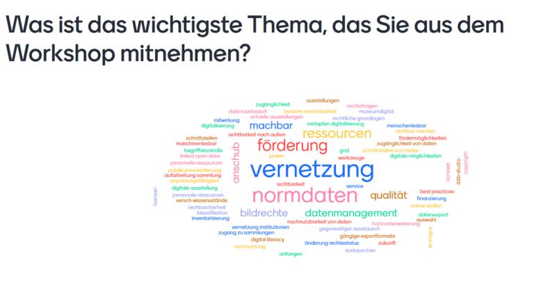Mentimeter-Umfrage am Ende des DDB-Museumsworkshops