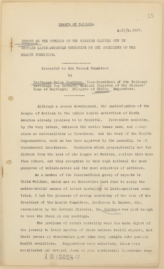 Auszug aus dem Bericht des Völkerbundes über eine Mission der Hygienekommission in Südamerika, 1927
