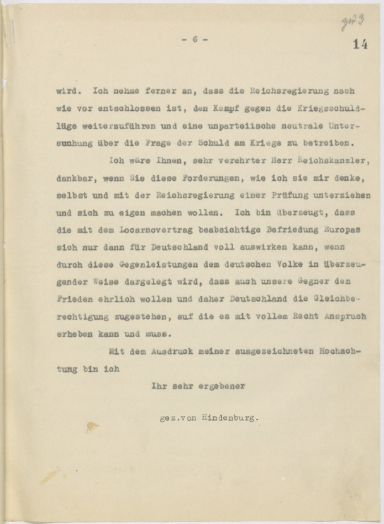 Auszug aus der Stellungnahme Hindenburgs zu den Verträgen von Locarno, 4. Dezember 1925
