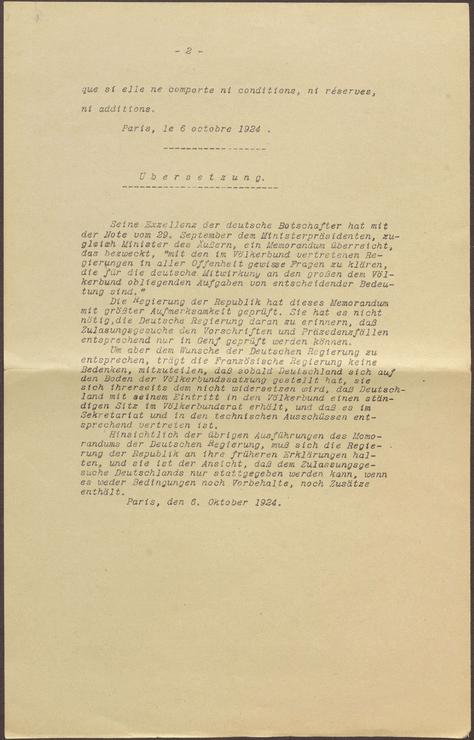 Auszug aus der französischen Antwort auf das deutsche Memorandum bzgl. eines Eintritts in den Völkerbund, 6. Oktober 1924, S. 2