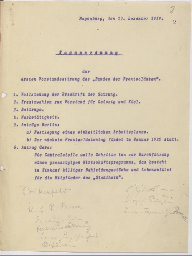 "Tagesordnung der ersten Vorstandssitzung des ""Bundes der Frontsoldaten"", 13.12.1919 (Bundesarchiv, BArch R 72/3, Bl. 2)"