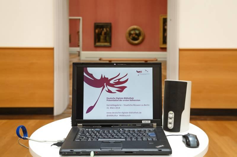 Präsentation der ersten Vollversion der Deutschen Digitalen Bibliothek am 31. März 2014 in der Wandelhalle der Gemäldegalerie – Staatliche Museen zu Berlin.