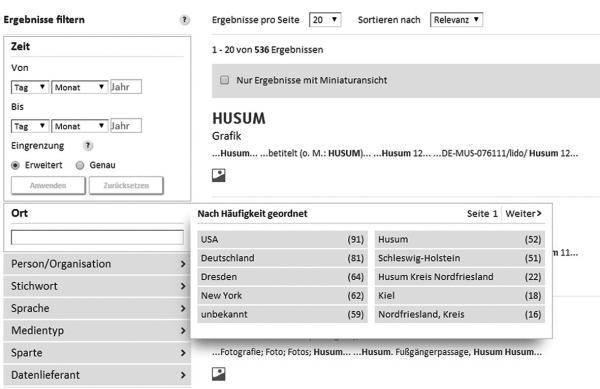 Abbildung 4: Beispiel der Facettensuche der Deutschen Digitalen Bibliothek