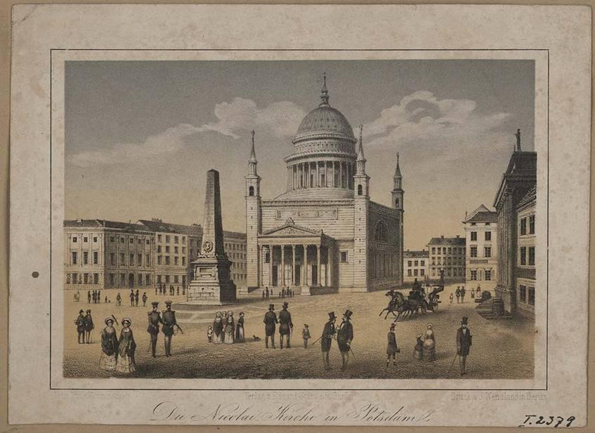 """""""Blick auf die Nikolaikirche auf dem Alten Markt"""" (um 1855), Potsdam Museum - Forum für Kunst und Geschichte (CC BY-NC-SA 4.0 International)"""