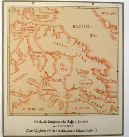 """Baffin Bay, wo die Wikinger ca. 985 n. Chr. anlandeten // """"Karte der Umgebung des Baffin-Landes von Franz Boas"""" (ca. 1887), Foto: Helene Tello, Ethnologisches Museum, Staatliche Museen zu Berlin (CC BY-NC-SA 3.0)"""