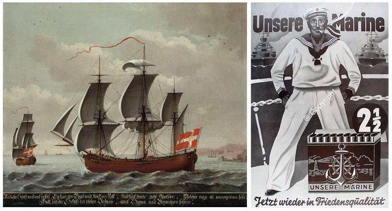Schiffsporträt (Altonaer Museum) und Zigarettenwerbung aus dem Reemtsma Werbemittelarchiv (Museum der Arbeit)