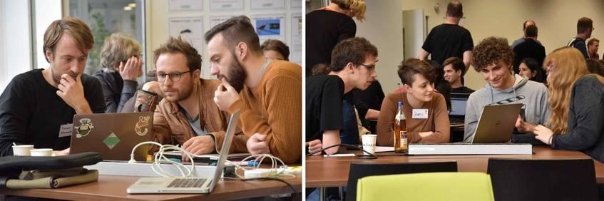 Die KulturhackerInnen im Workspace bei der Ideenfindung; Foto: Wiebke Hauschildt/Deutsche Digitale Bibliothek