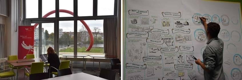Bei der Arbeit: Ideenfindung und Graphic Recording; Foto: Wiebke Hauschildt/Deutsche Digitale Bibliothek