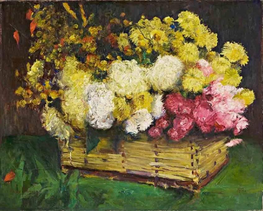 """""""Blumen im Spankorb"""" (1912), Maler: George Mosson, Berlinische Galerie - Zustiftung der Dr. Jörg Thiede-Stiftung, 2014 (CC 1.0 Universell - Public Domain Dedication)"""