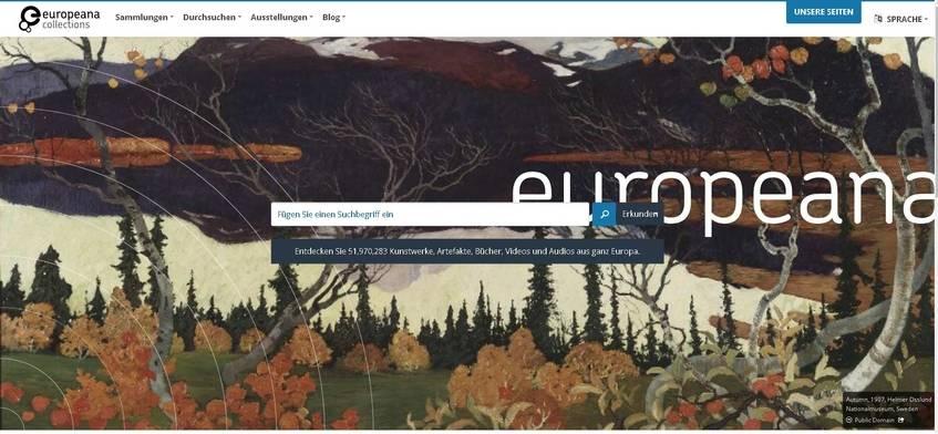 Screenshot der Europeana Startseite (27.11.2017)