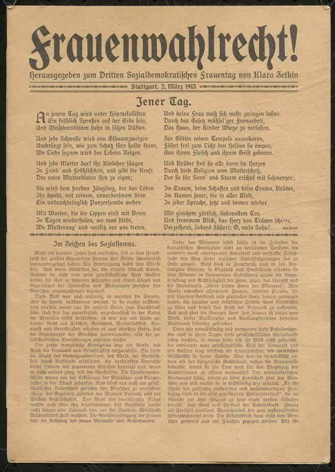 """""""Flugblatt zum Frauenwahlrecht von Clara Zetkin"""" (2. März 1913), Deutsches Historisches Museum, Berlin"""