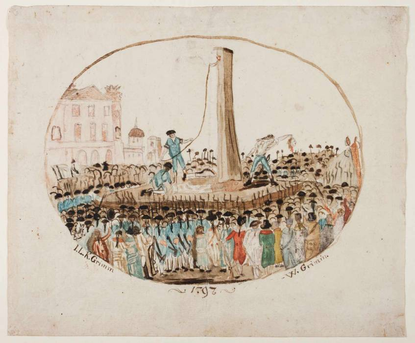 """""""Hinrichtung Ludwigs XVI., Jacob Grimm und Wilhelm Grimm, 1797"""", Bad Homburg, Verwaltung der Staatlichen Schlösser und Gärten Hessen (CC BY-NC-SA 4.0 International)"""