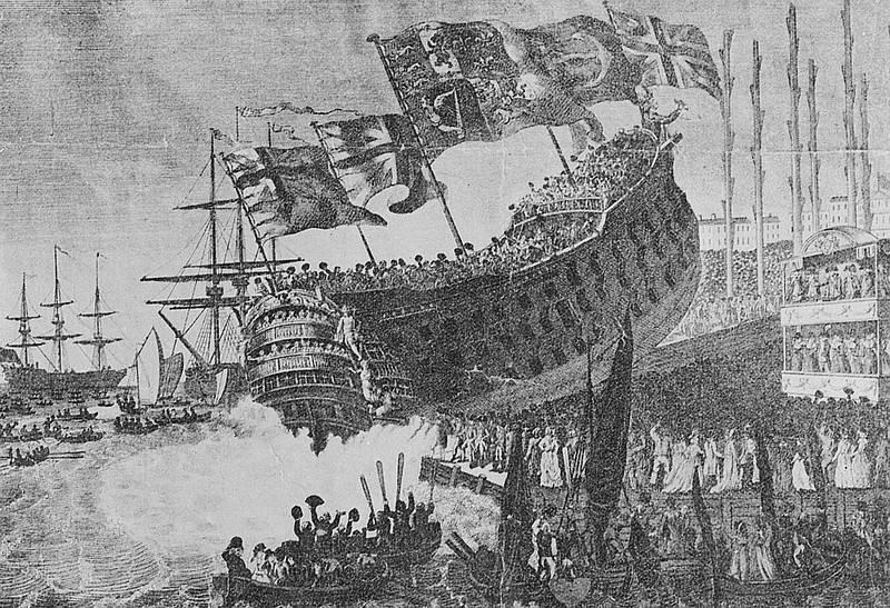 """""""Linienschiff """"Prince of Wales"""" (1794), Bild: Stoedtner, Franz (Lichtbildverlag) (Fotograf) (1794), SLUB/Deutsche Fotothek (Freier Zugang - Rechte vorbehalten)"""