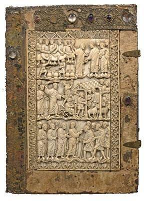 Quattuor Evangelia - Capitulare evangeliorum, Prachteinband: Fulda, 9. Jahrhundert (M.p.th.f.65),  © Universitätsbibliothek Würzburg