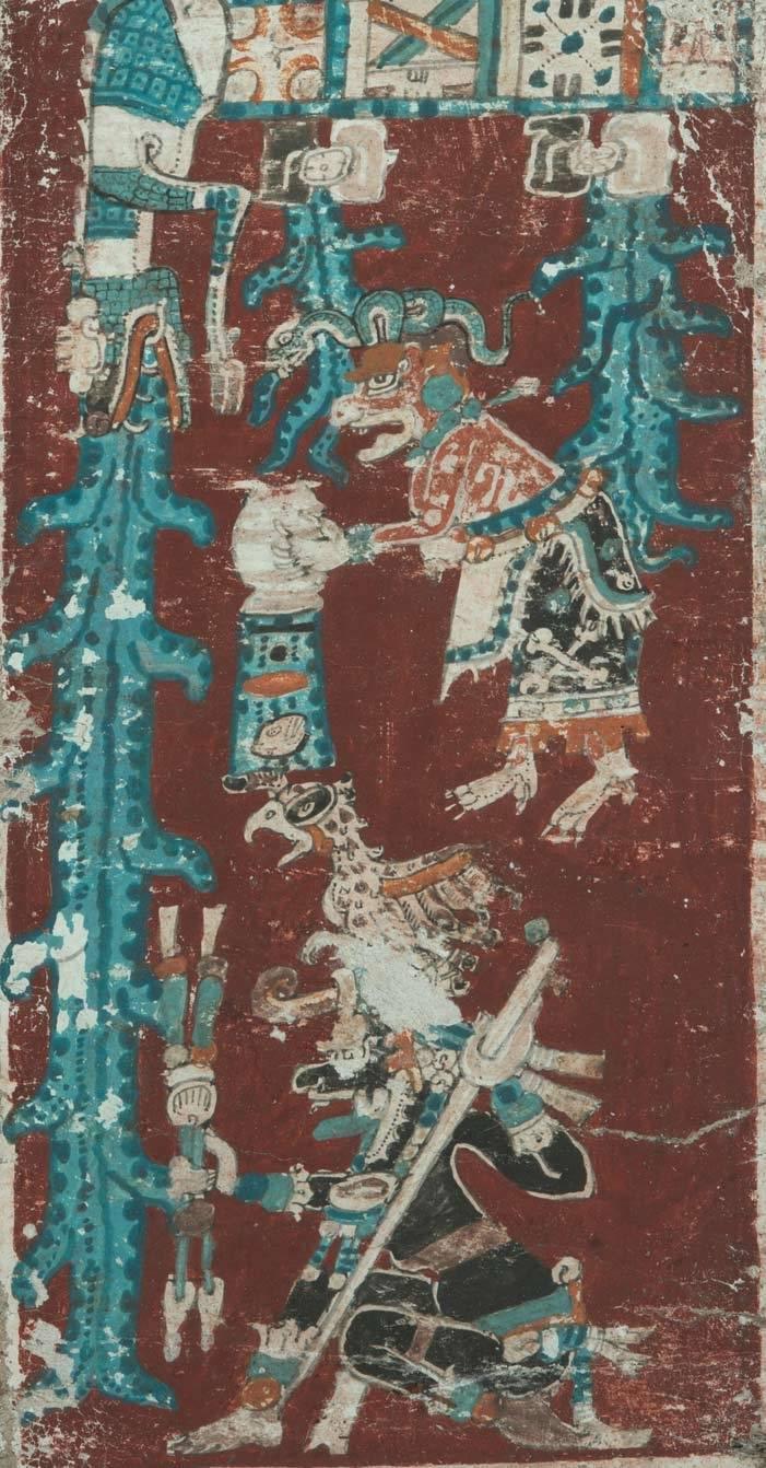 Auszug aus dem Maya-Codex: Aus dem Maul des Himmelskrokodils, den Zeichen für Sonnen- und Mondfinsternis und aus dem Krug der Wassergöttin Chak Chel ergießen sich infolge einer heftigen Regenzeit Wasserströme. Unten hockt der Herr der Unterwelt mit Schreieule auf dem Kopf und bewaffnet mit Speeren und Schleuder.