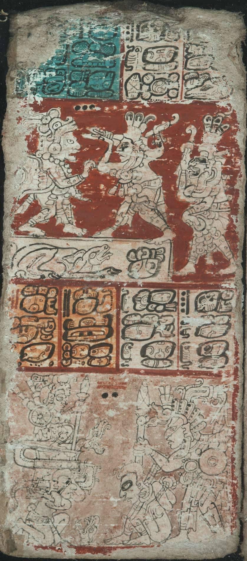 Eine von ursprünglich 13 Seiten eines K'atun-Kalenders mit 13 mal 20 Jahren zu je 360 Tagen. Kämpfende Krieger oben und die Vorführung eines Gefangenen unten stehen für das Unheil, das nach Ablauf der ersten K'atun-Periode droht.