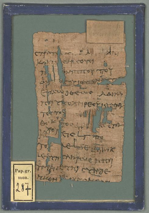 """Papyrus - BSB Pap.graec.mon. 287"", Bayerische Staatsbibliothek (CC BY-NC-SA 4.0 International)"