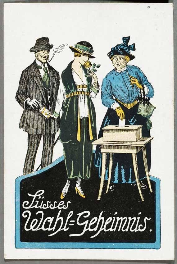 """""""Frauen an einer Wahlurne"""" (Postkarte um 1920), Deutsches Historisches Museum, Berlin"""