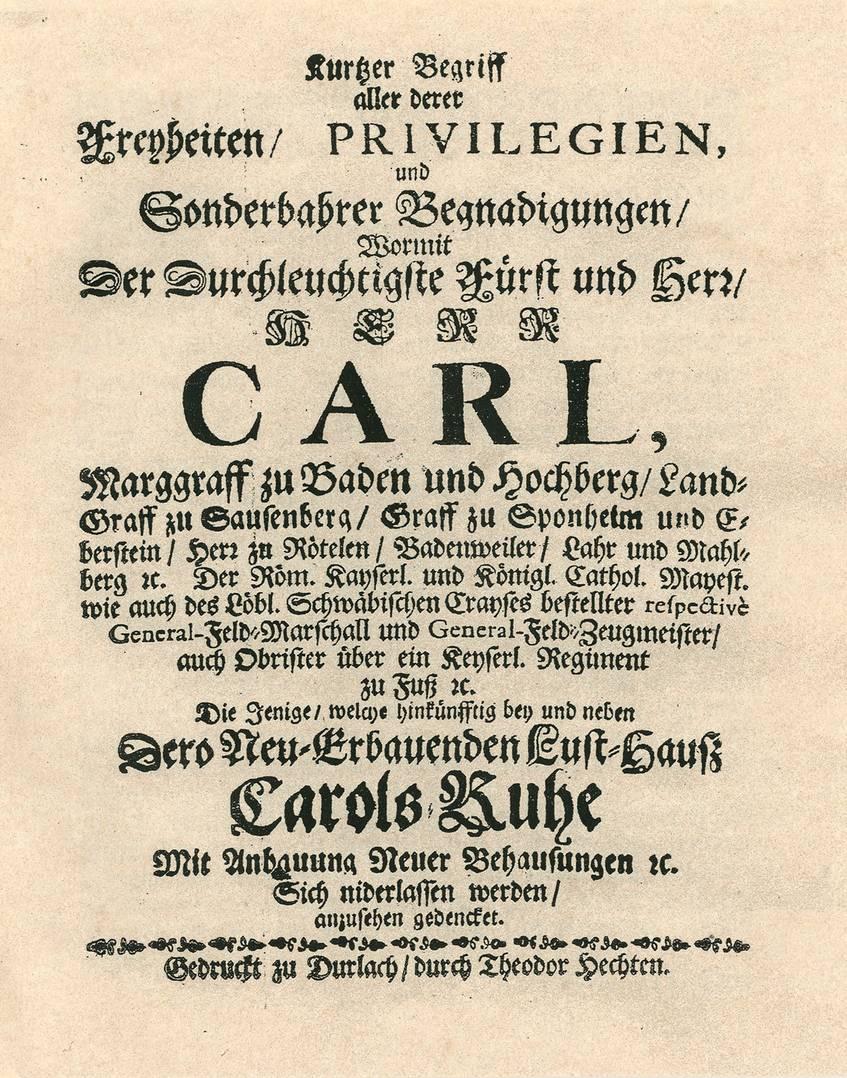 Nachdruck des Karlsruher Privilegienbriefs von 1715