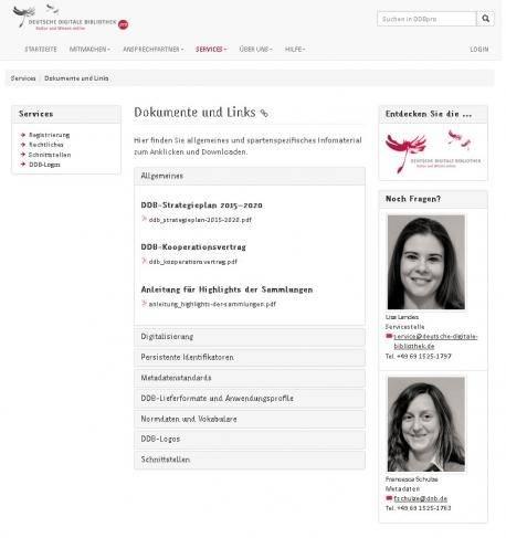 Screenshot DDBpro Dokumente und Links