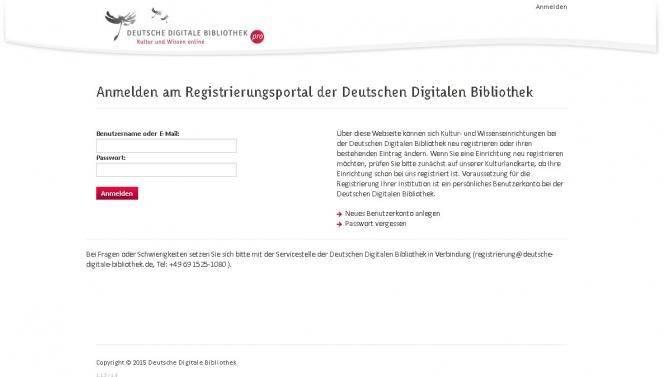 Screenshot DDBpro Registrierung