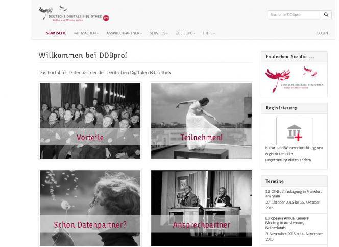 Screenshot Startseite DDBpro