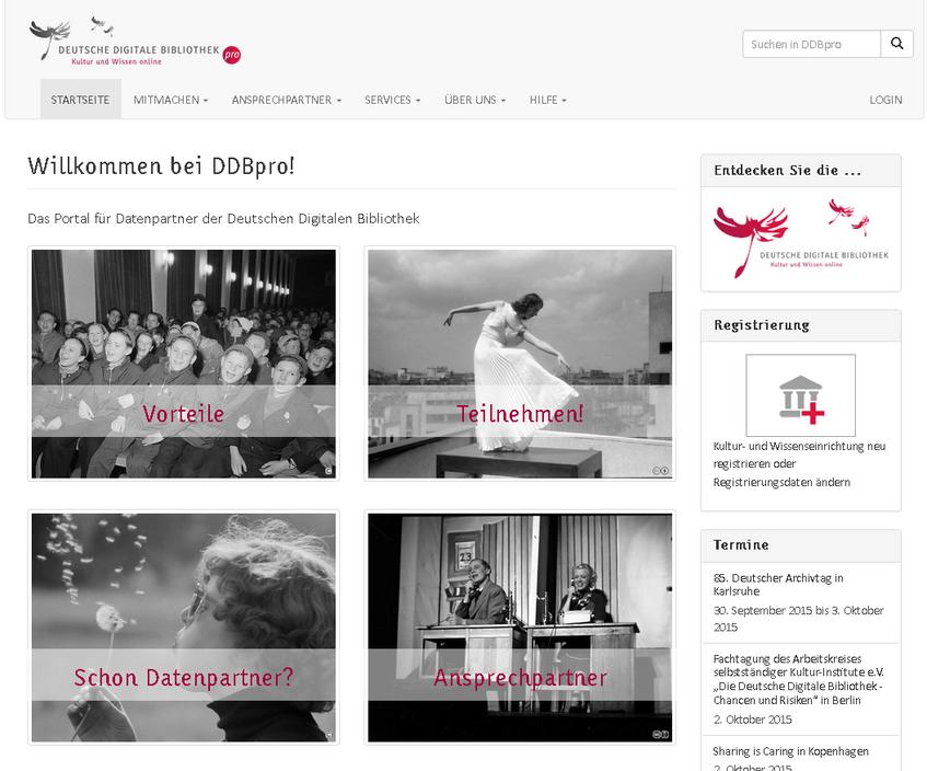 Screenshot DDBpro Das Portal für Datenpartner der Deutschen Digitalen Bibliothek