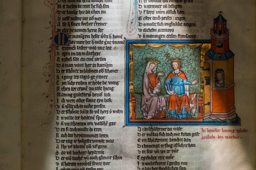 Willehalm-Kodex, 1334, Schachszene Willehalm bekehrt Arabel zum Christentum, Signatur: 2° Ms. poet. et roman. 1, fol. 25r