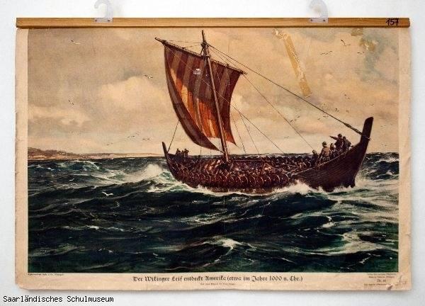 """Der Wikinger Leif entdeckt Amerika"" (Schulwandbild Geschichte 1934), Saarländisches Schulmuseum Ottweiler (CC BY-NC-ND 3.0)"