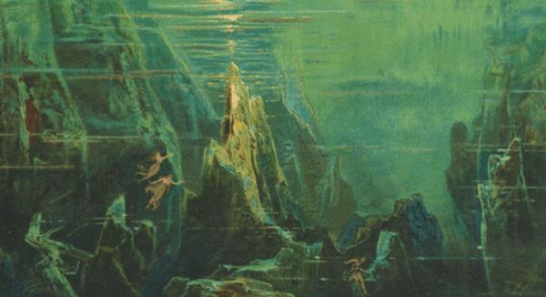 Max Brückner: Das Rheingold – Auf dem Grunde des Rheins. Bayreuther Bühnenbilder zum Ring des Nibelungen, 1902, Karlsruhe, aus der Sammlung von: Badische Landesbibliothek (CC BY-SA 4.0)